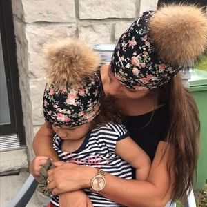 New Matching Mommy Daughter Floral Cotton Beanies